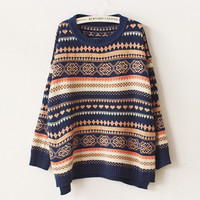 Navy Christmas Snowflake Asymmetric Knit Sweater