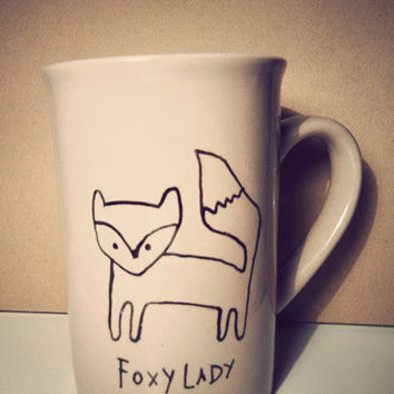 Fox & Owl hand drawn mug by Mr Teacup by MrTeacup on Etsy