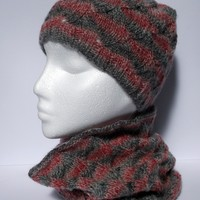 Women's hand knitted pink and grey infinity cowl neckwarmer and beanie hat set