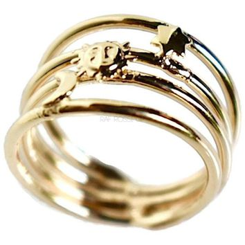 Sun Moon Stars 18kts Gold Plated Ring