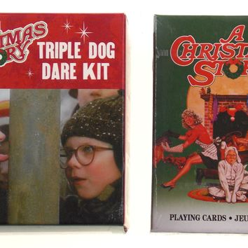 A Christmas Story Triple Dog Dare Flagpole Figure Deck Playing Cards Lot of 2