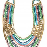 Colorful & Gold Beaded Bib Necklace | Zahara Bib Necklace