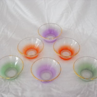 Blendo Bowls  Set of 6  Multicolor Frosted Dessert by Artfulfolk