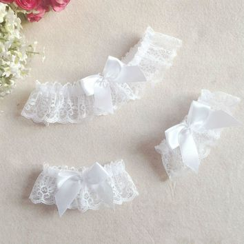 3Pcs Sexy White One Size Lace Floral Leg Garter Belt Arm Bracelet Wedding Bridal Cosplay Bowknot Thigh High Stocking Leg Ring