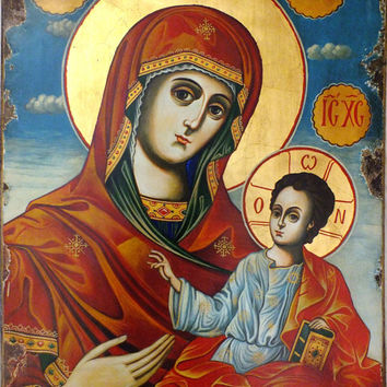 Huge Hand Painted Religious Icon of Virgin Mary and Jesus Christ / Theotokos by V. Georgiev Listed for charity