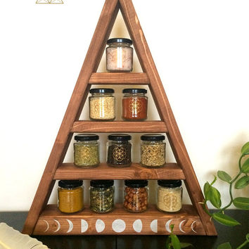 pyramide shelf, triangle, herbs, witch, pagan, witchy, wicca, kitchen, chrystal display, stones, storage, glas, jar,glasses, moon zyclus