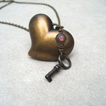Brass Heart Necklace - Skeleton Key - Key To My Heart Necklace