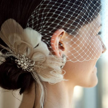 20s Headpiece,  20s Fascinator, Wedding Head Piece, Bridal Hair Clip, Bridal Headpiece, Gatsby Headpiece, Wedding Hair Clip, Wedding Veil