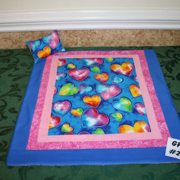 """American girl sized, reversible doll bed quilt 19"""" x 20.5"""" with matching pillow 4"""" x 6"""""""
