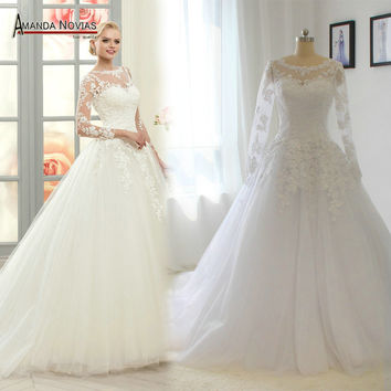 Simple elegant drop waist wedding dress with 3D lace appliques bridal dress