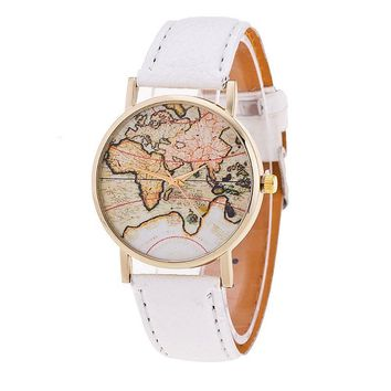 Cheap Women's World Map Watches Mens Leather Band Simple Analog Quartz Wrist Watch Ladies Casual Clock Relogio Feminino #Ju