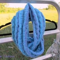 Chunky Infinity Scarf in Blue and Purple, Handmade Acrylic Cowl
