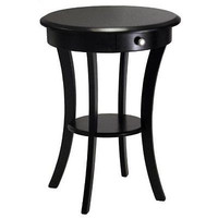 Round Table Accent End Drawer Black Shelf Furniture Small Office Family Bedroom