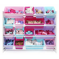 Tot Tutors Forever Super-Sized Toy Storage Organizer with 16 Plastic Pastel Colored Bins