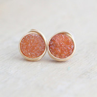 Druzy Post Studs, Petite Earrings in Gold, Rose Gold, Silver, Rust Orange, Minimalist Fall Fashion - Sienna