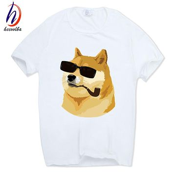Hecoolba 2017 Men Women Print Doge Deus God Dog/shiba Inu White T-shirt Short sleeve O-Neck harajuku fitness funny Tshirt HCP412