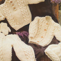 Baby Sweater, Jacket, Trousers, Hat, Mittens Knitting Pattern PDF instant download. size 16-22 inch. Aran wool. Baby Knitting Pattern