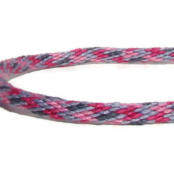 NEW-- gray and pink friendship kumihimo bracelet with or without purchased stainless steel magnetic clasp