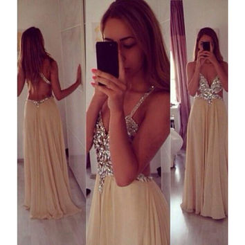 Backless Prom Dress Evening Party Gown pst0898