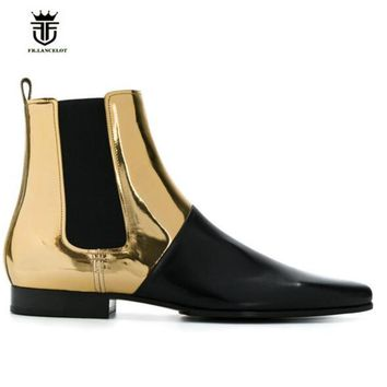 Handmade Pointed Toe Genuine Leather Slim Fit Wedge Men Boots