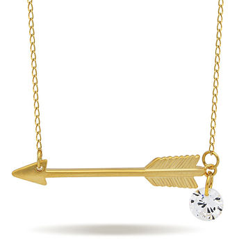 Small Arrow Necklace, 925 Sterling Silver, 14K Gold Plated Arrow Pendant