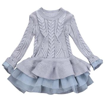 Kids Girls dresses Knitted Sweater Winter Pullovers Crochet Tutu Dress girl Clothes ping