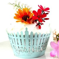 20 Lace Cupcake Wrappers Liner - Pastel Blue PICKET FENCE
