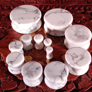 Pair of Howlite Stone Plugs (25mm, 22mm, 19mm, 16mm, 14mm, 12mm, 10mm, 8mm, 6mm, 5mm, 4mm, 3mm)