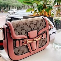 GUCCI Bag Crossbody Handbag GG Women Leather Shoulder Bag Pink