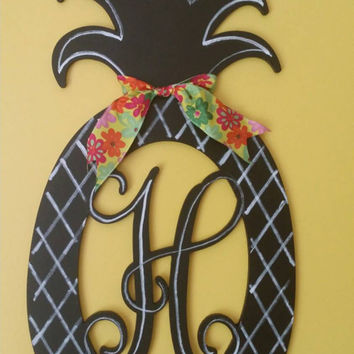Monogram Door Hanger Monogram Pineapple Decor Chalkboard Monogram Pineapple  Welcome Decor Pineapple Door Hanger Monogram Wedding