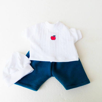 """bitty baby clothes, boy, girl or 15"""" twin, Back To School! White Apple T shirt, Blue Shorts, Hat /Tam- 3pc, handmade by adorabledolldesigns"""