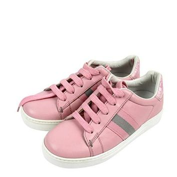 Gucci Kids Pink Leather Trainer Sneaker with Web 257771 (G 29 / US 12)