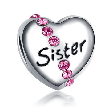 Cute Love Heart European Charm Sister With Crystal Beads Fit Women Pandora Bracelet