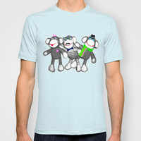 Sock Monkey Buddies Art Print   T-shirt by Cool Cat Creative