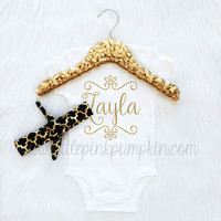 Baby Girl Clothes, Personalized Name Bodysuit, Quatrefoil Knot Headband, Coming Home Outfit, Take Home Outfit, Gold Glitter, Trendy Baby