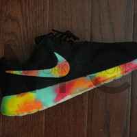 "Nike Roshe Run Black White ""Fruity Pebbles"" Tie Dye Custom Men & Women"