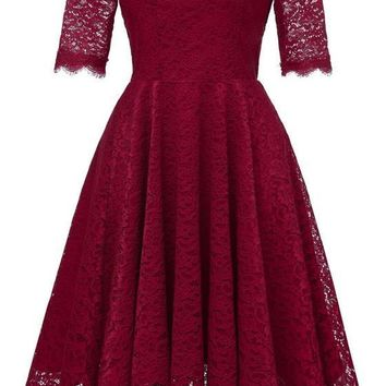 Burgundy Lace Draped Off Shoulder Backless Elegant Sweet Party Midi Dress