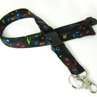 Fabric Lanyard - ID Badge and Key Ring for the Music Teacher or Musician - With Breakaway and Detachable Side Release Key Ring