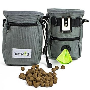 Tuff Mutt Dog Treat Pouch for Training, Carries Treats and Toys, Built-In Poop Bag Dispenser, Adjustable Waist and Shoulder Belt, Includes One Roll of Pet Waste Bags