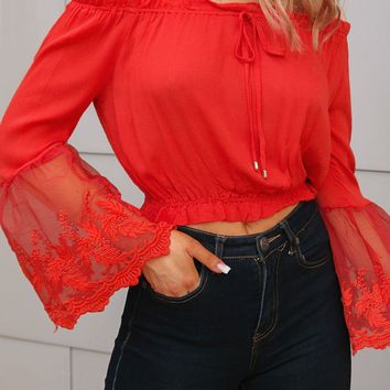 Margot Red Lace Bell Sleeve Top