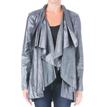 Catherine Malandrino Womens Faux Leather Draped Jacket