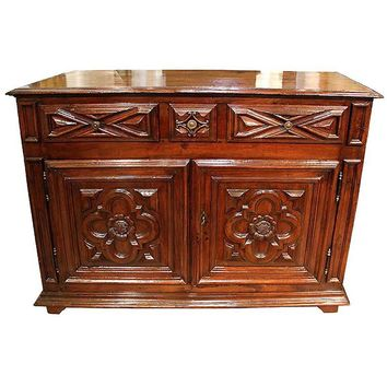 18th Century Geometric Italian Walnut Credenza and Sideboard Cabinet
