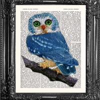 Gift Poster Blue Owl Art-Owl Print-Blue Owl Decor-Home Dorm Wall Decor- Dictionary Print Wall Decor-Antique Book Page -Print On Dictionary