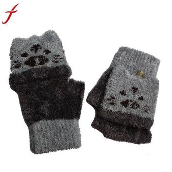 ICIKU7Q 1Pair Gloves Girls Boys Hand Wrist Warmer Winter Fingerless Button holds Gloves Mitten