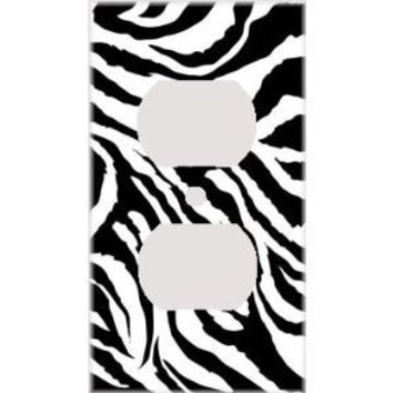 Jagged Zebra Skin Print Decorative Outlet Cover