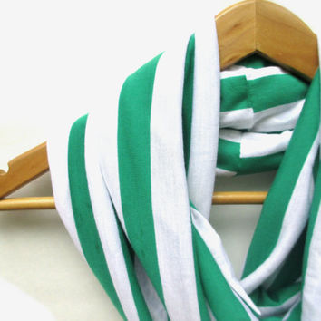 Kelly Green and White Stripe Jersey Knit Infinity Scarf // Striped Scarf // Green // Green Stripes // Infinity Scarves // Back to School //