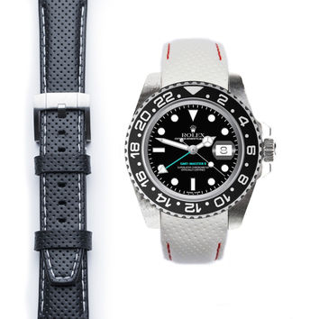 Everest Curved End Racing Leather Strap with Tang Buckle for Rolex GMT Ceramic