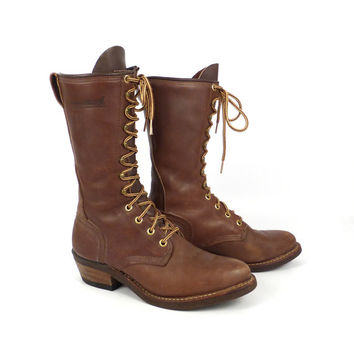 Roper Boots Vintage 1980s Golden Retriever Leather Brown Granny Lace up Packer Women's size 7