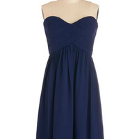 Strapless Flirting with the Idea Dress in Navy