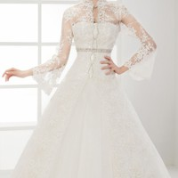 Beaded High Neckline Gown by Saboroma Bridal